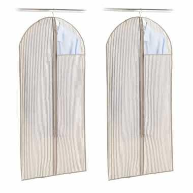 2x beige beschermhoes voor kleding/kleren 60 x 120 cm