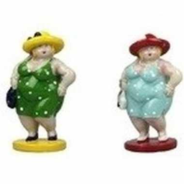2x decoratie staande dikke dames beeldjes 20 cm in groene/lichtblauwe