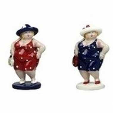 2x decoratie staande dikke dames beeldjes 20 cm in rode/donkerblauwe