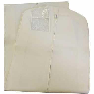 2x extra lange witte beschermhoes voor kleding/kleren 65 x 180 cm