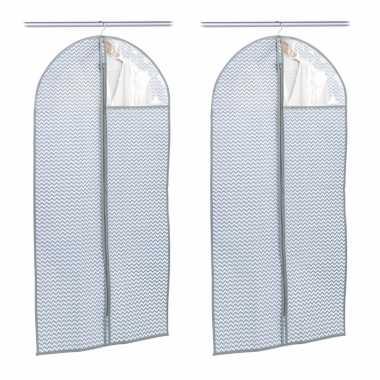 2x grijsblauwe beschermhoezen voor kleding/kleren 60 x 120 cm