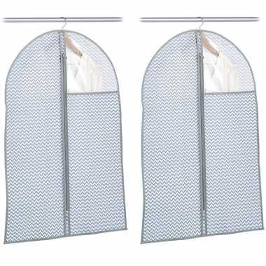 2x grijsblauwe beschermhoezen voor kleding/kleren 60 x 90 cm