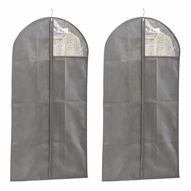 2x grijze beschermhoezen voor kleding/kleren 60 x 120 cm