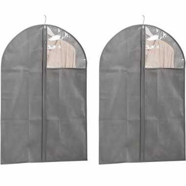 2x grijze beschermhoezen voor kleding/kleren 60 x 90 cm