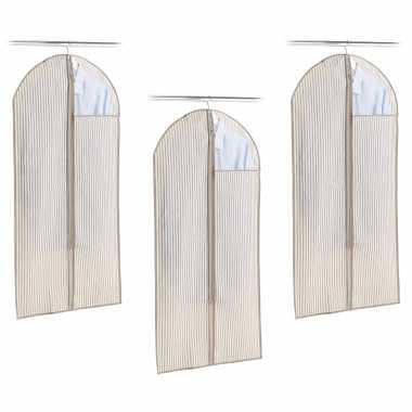 3x beige beschermhoes voor kleding/kleren 60 x 120 cm