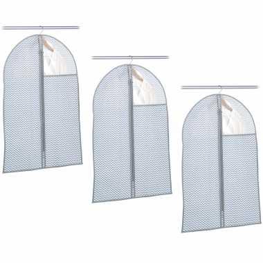 3x grijsblauwe beschermhoezen voor kleding/kleren 60 x 90 cm