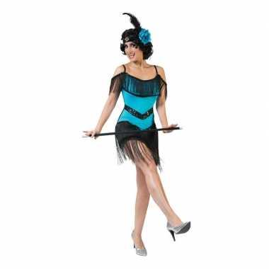 Blauw met zwart charleston verkleed jurkje voor dames