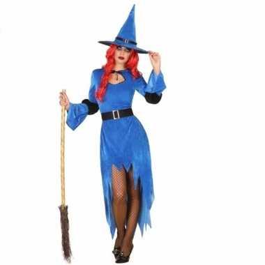 Blauwe heksenjurk met hoed voor dames