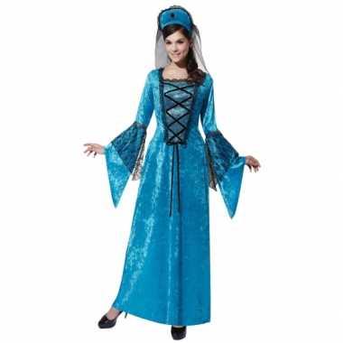 Blauwe jurk middeleeuws thema feest