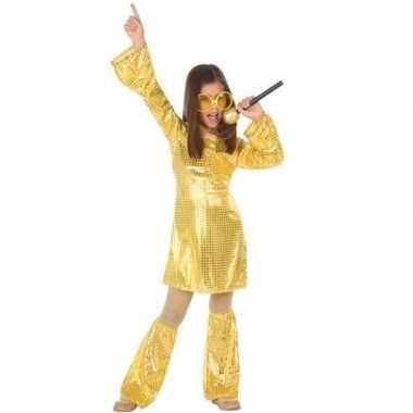 Budget disco pailletten jurk goud voor meisjes