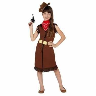 Cowboy western kostuum jurkje bruin voor meisjes