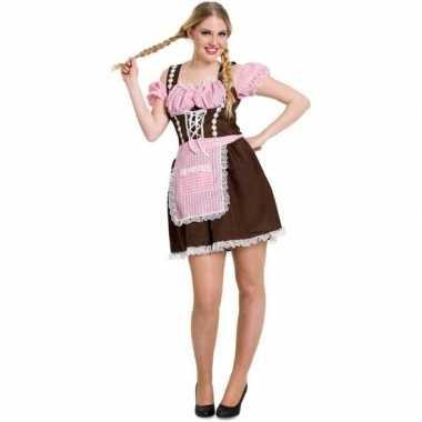 Dames dirndl jurkje bruin met roze