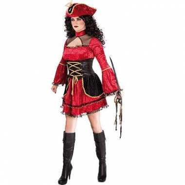 Dames piraten kostuum rood
