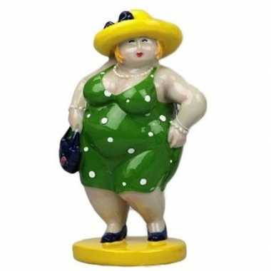 Decoratie dikke dames beeldjes groen/geel 20 cm