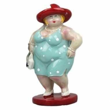 Decoratie dikke dames beeldjes lichtblauw/rood 20 cm