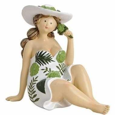 Dikke dame decoratiebeeldje groen/wit jurkje 15 cm