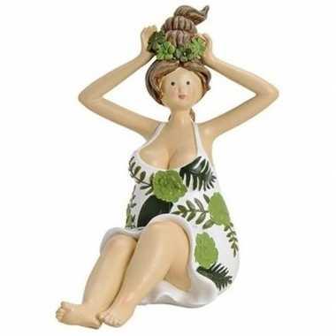 Dikke dame decoratiebeeldje groen/wit jurkje 16 cm