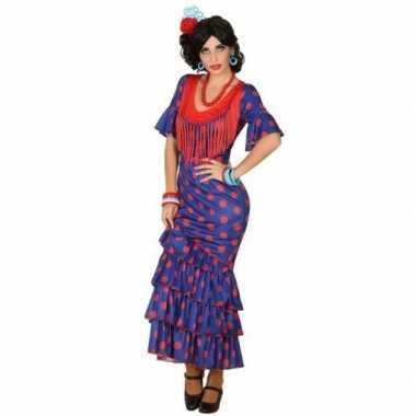 Flamenco danseres jurk blauw met rood voor dames