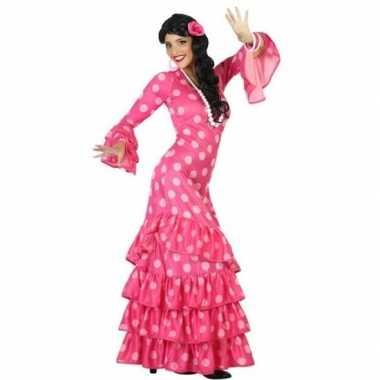 Flamenco danseres jurk roze met lange mouwen voor dames