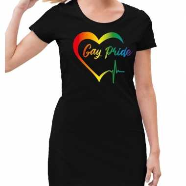 Gaypride kloppend regenboog hart jurkje zwart dames