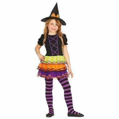 Gekleurd heksenjurkje met heksenhoed voor kids