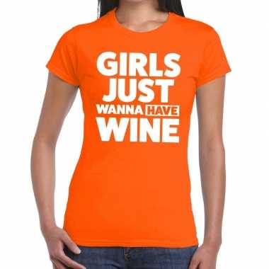 Girls just wanna have wine fun t-shirt oranje voor dames