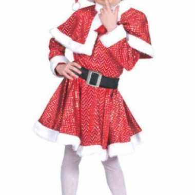 Glitter kerst jurkje met muts voor meiden