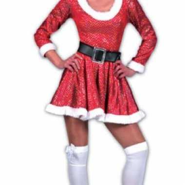 Glitter kerstvrouw jurk met muts