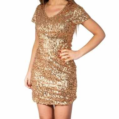 Glitter pailletten stretch jurkje goud dames
