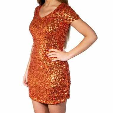 Glitter pailletten stretch jurkje oranje dames