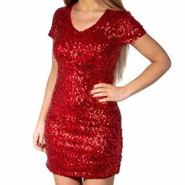 Glitter pailletten stretch jurkje rood dames