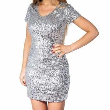 Glitter pailletten stretch jurkje zilver dames