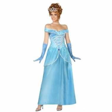 Goedkope blauwe prinsessen verkleed jurk voor dames