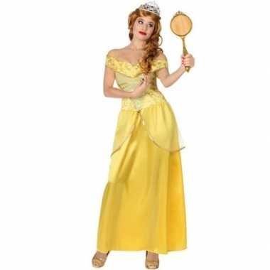 Goedkope gele prinsessen verkleed jurk voor dames