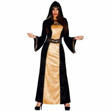 Gothic verkleedkleding zwart met gouden jurk