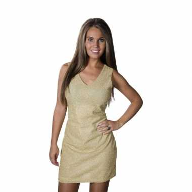Gouden jurkje met glitter effect stretch dames