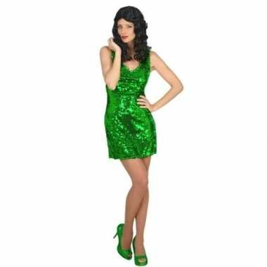 Groen st. patricksday glitter jurkje voor dames