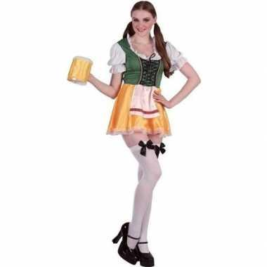 Groene/gele bierfeest/oktoberfest jurkje verkleedkleding voor dames