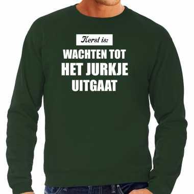 Groene kerstsweater / kerst kleding kerst is: wachten tot het jurkje uitgaat voor heren grote maten