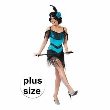Grote maat blauw met zwart charleston verkleed jurkje voor dames