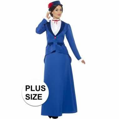 Kostuums Dames.Grote Maat Blauw Nanny Kostuum Voor Dames