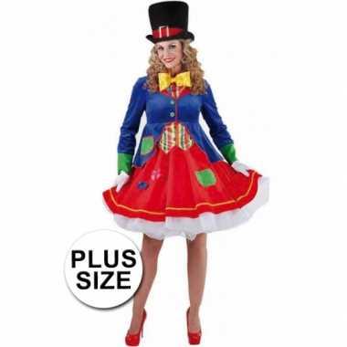 Grote maat clown verkleedkostuum voor dames