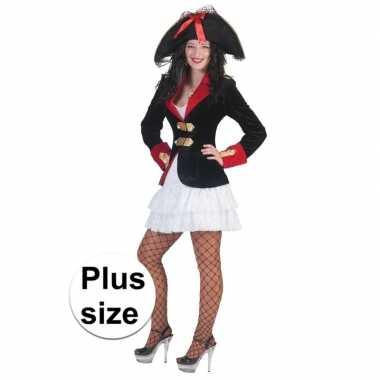 Grote maat dames piraten verkleed jurkje en jas