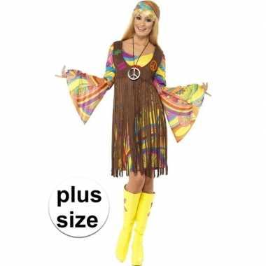 Grote maat hippie verkleedkleding voor dames
