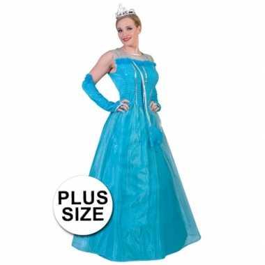 Grote maat lichtblauwe prinsessen damesjurk
