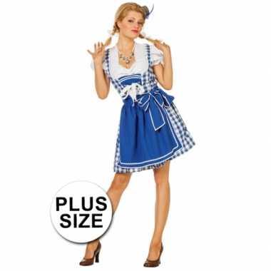 Grote maat oktoberfest jurk blauw