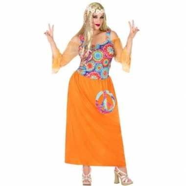 Grote maat oranje hippie jurk met cirkels voor dames