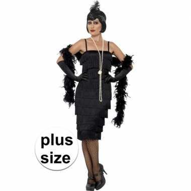 Grote maat twenties flapper verkleedkleding zwart voor dames