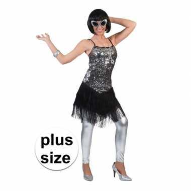 Grote maat zilver met zwart charleston verkleed jurkje voor dames