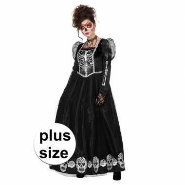 Grote maat zwarte halloween day of the dead jurk voor dames